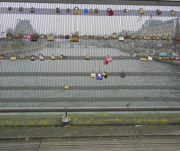 Love padlocks. Paris bkdrop