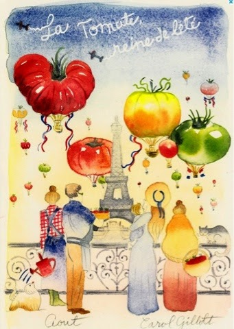 artist Carol Gillott illustration of President Wilson market Paris