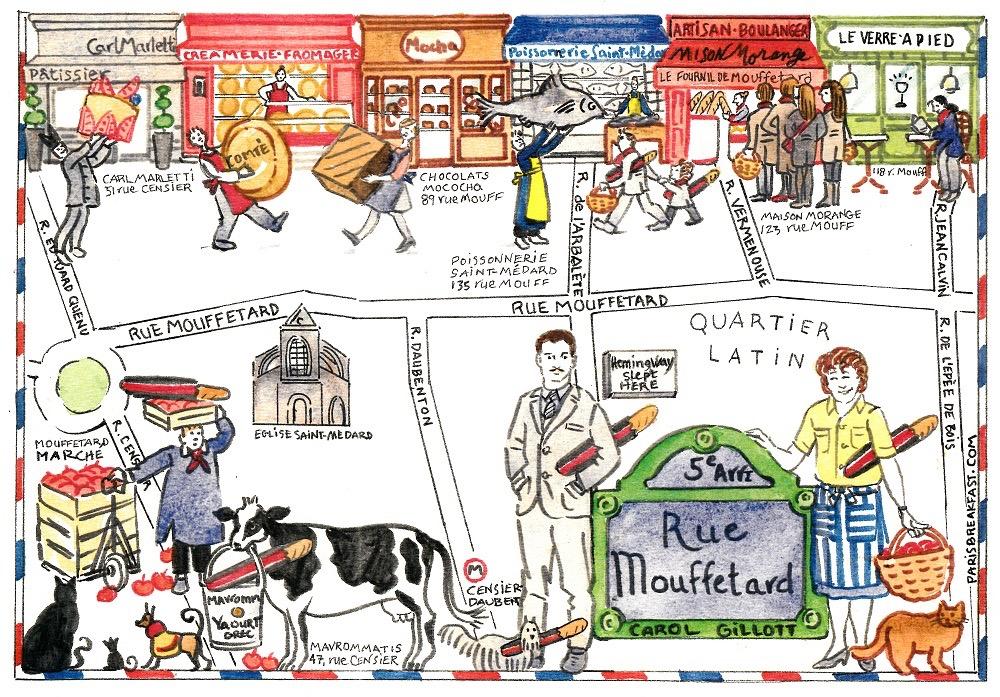 rue Mouffetard by artist Carol Gillott